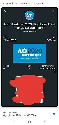 Australian Open 21 JANUARY 7 PM FRONT ROW TICKET Rod Laver Arena