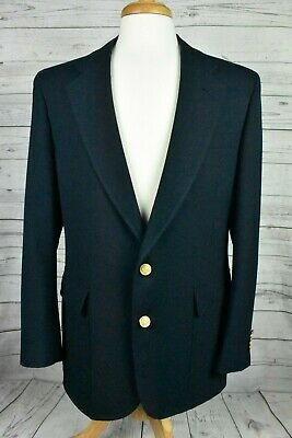 Palm Beach Navy Blue Blazer Gold Buttons Notched Lapel Mens Size 42 R