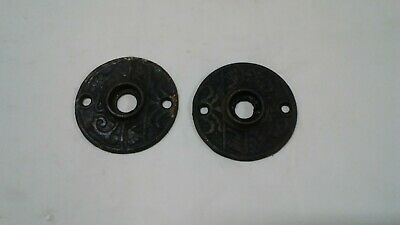 Antique Salvaged Pair cast iron Round Door Knob Victorian ornate Rosettes 2 1/8""