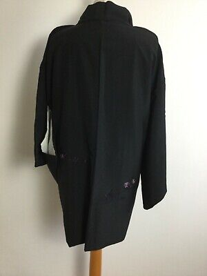 Vintage Authentic  Kimono Haori Royal Gorgeous Black with embroidery  #620