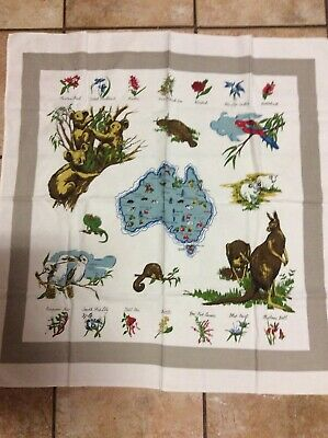 Vintage Collectable  Old Australian Wildlife Super Cloth Tablecloth