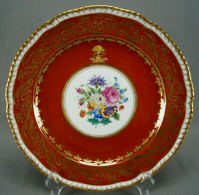 Dresden Hand Painted Floral Red & Gold Scrollwork & Armorial 10 3/4 Inch Plate D