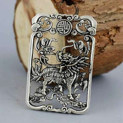 Collect China Old Miao Silver Hand-Carved Myth Kylin Moral Bring Luck Pendant