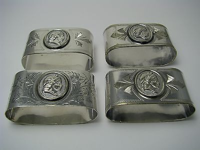"SET 4 SILVERPLATE SILVER PLATED NAPKIN RINGS NAPKIN HOLDERS ""Medallion"" ca1860s"