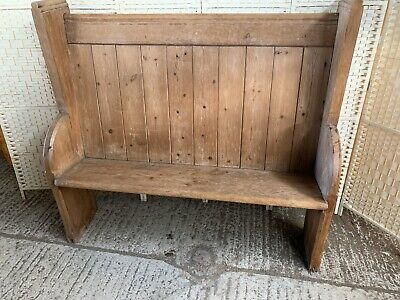 Beautiful Antique Solid Pine Church Pew Victorian Large Hallway Seat 4ft