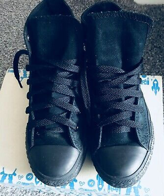 Converse Black Canvas Shoes Trainers Size 1.5 High Top Boys Girls Kids***