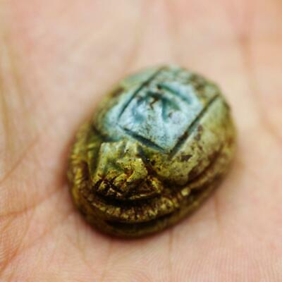 Rare Antique Faience Scarab Beetle Amulet Figurine Ancient Egyptian
