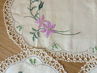 Hand embroidered Duchess Set - Flowers