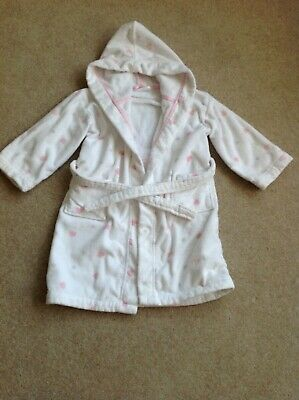 The Little White Company Girls Hooded Dressing Gown Pink/Grey Hearts 4-5yrs VGC