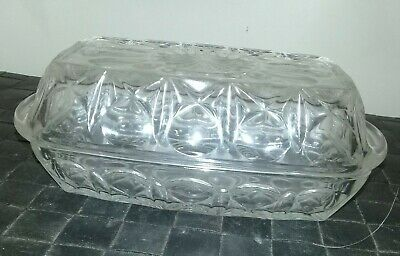 Vintage France Reims Glass Covered Butter Dish