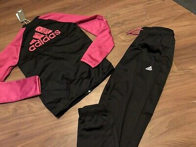 Girls Adidas Black & Pink Polyester Tracksuit BNWT Jacket & Joggers Age 13/14
