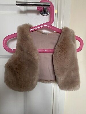 Toddler Girls Beautiful Pink Next Fur Gillet 12-18 Months
