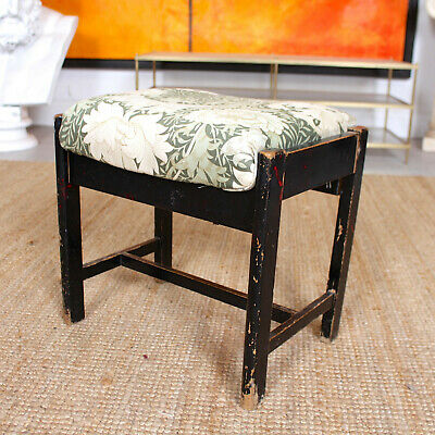 Antique Ebonised Piano Stool Worn Footstool