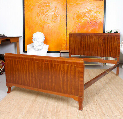 Antique Vintage Bed Frame MAPLE & CO Inlaid Mahogany Headboard Footboard