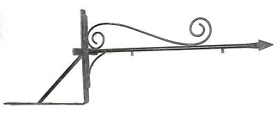 Old Vintage Wrought Iron Metal Street, House or Section Name Sign Holder