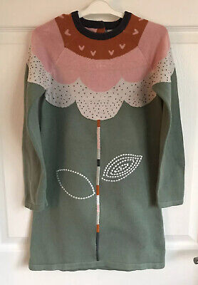 Girls Green Mix Marks And Spencer Long Sleeved Knit Cotton Dress  - Age 6-7yrs