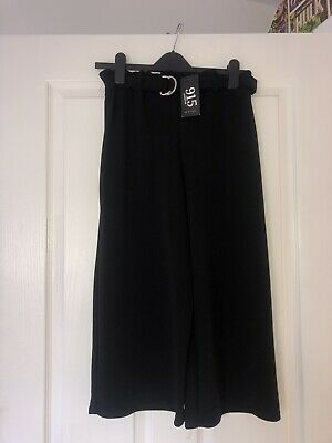 New Look Girls Culotte Black Trousers Age 14-15 Brand New With Tags RRP £14.99