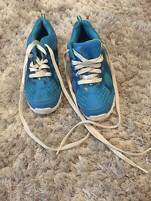 Teal And White Girls Trainers Size 1 1/2 One And A Half