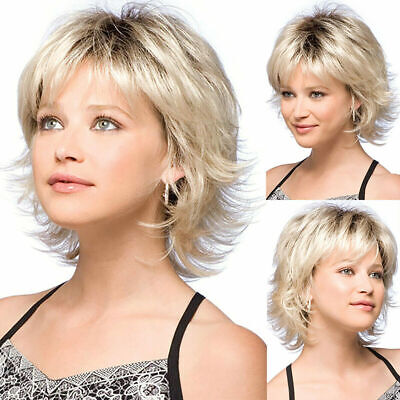 Women Pixie Wig Blonde Short Curly Wigs Bob Fluffy Hair Bangs Natural Daily Wig