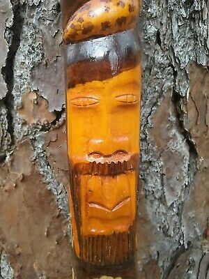 Jamaican Walking Stick With Man Coiled Up by Snake with a Lions Head Solid Wood