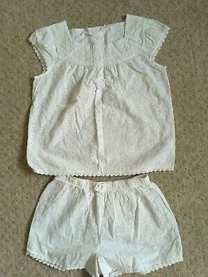 Girls Childrens Next Pyjamas Age 11 Years in white cut out vintage look perf con