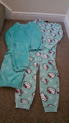 Girls pyjama bundle green hello kitty onesie fleecy 11-12 George not Gerber