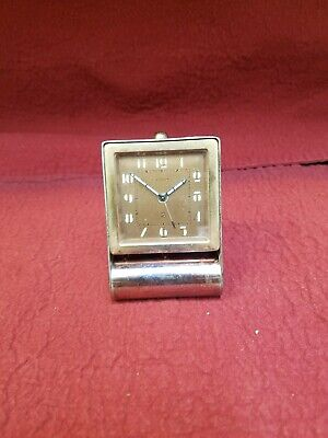 Early Lecoultre Travel Alarm clock with nice Art Deco Design face and case