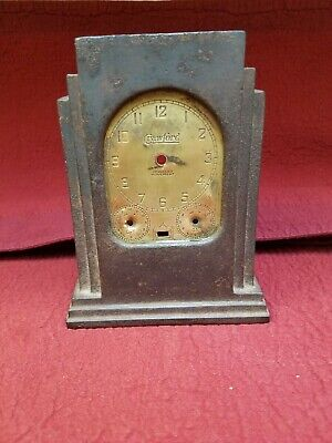 Old Skyscraper Clock Case with heavy cast iron body and Crawford Brass dial