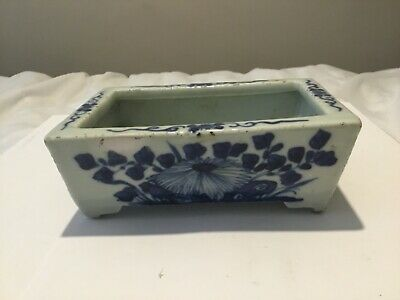 A Old Chinese Porcelain Blue And White Square Bowl With Legs