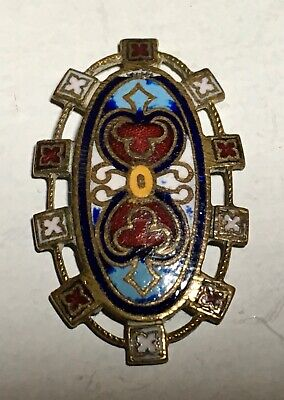 Antique French Enamel Button Unusual Oval Dental Squares Border Detail