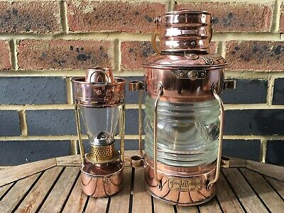 Simpson Lawrence Glasgow Complete Copper Anchor Ships Lamp Super Condition