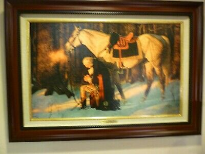 PRAYER AT VALLEY FORGE 15x24 Canvas 22' X 31' Framed,  Washington