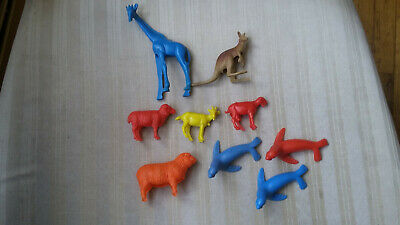 Vintage Lot Bergen Beton Plastic Animals - Giraffe Sheep Goat Kangaroo Calf Seal