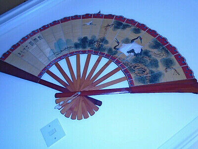 Large vintage Chinese oriental Fan/asian Wall Hanging bamboo home decor 50s