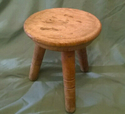 vintage wooden 3 legged milking stool