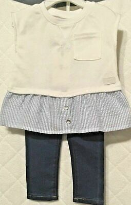 7 For All Mankind Baby Girls 2PC Jeans Set White/Blue SZ 12 Months NWT $59.00