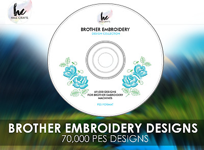 69,000 Brother Embroidery Designs PES DVD + PC Viewing Software