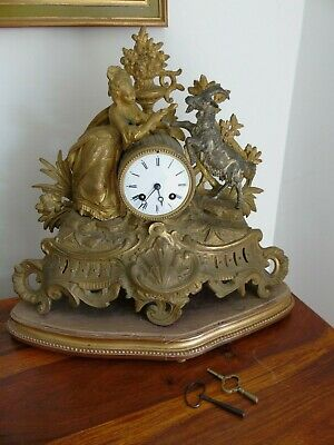 Antique Classical Mantel Clock Japy Freres  D Honneur Gilt Goat  French Art Girl