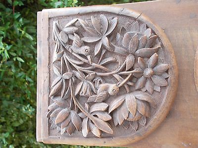 Swiss Black Forest carved wood bookrack book case antique small  good art detail