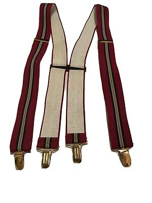Braces Suspenders Mens Vintage CLIP ON 1970s SKINHEAD Wine STRIPED Broker