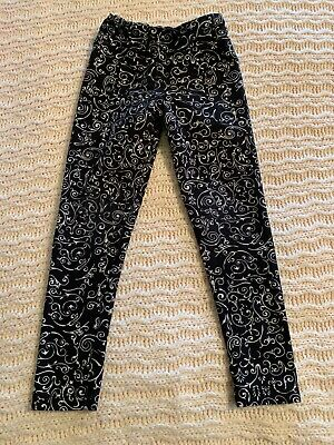 lularoe kids leggings s/m Black With White Scroll Design