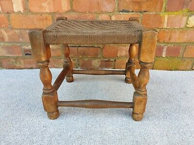 Antique rush stool footstool milking stool