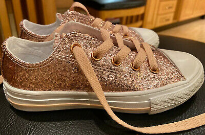 Girls Sparkly Pink Converse Trainers Size 11.5 Kids New