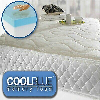 Cool Blue Memory Foam Mattress Topper + Zip Cover for Easy Wash