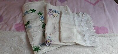 Vintage Table Clothes, Tray Covers And Tea Cosy. Hand embroidered.