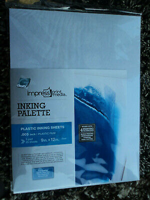 """Grafix IMPRESS Inking Palette Plastic Sheets (25) 9""""x 12"""" clear 0.005 inch thick"""