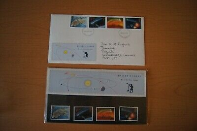 HALLEY'S COMET FDC First Day Cover 1986 & Royal Mail Presentation Pack Halleys