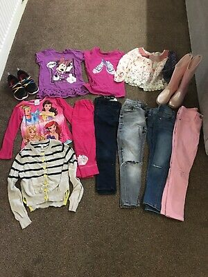 Girls Clothing Bundle Age 5,6,7 Years, Next, M&S Jeans Tops Pyjamas Shoes VGC