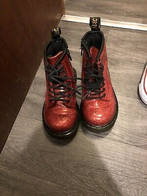 Girls Sparkly Doc Martens Red Size 7