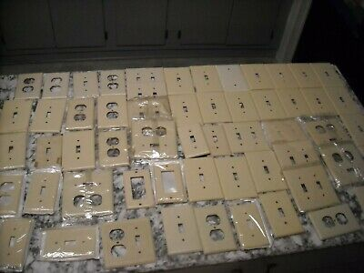 58 Leviton Gang Toggle Switch Plate Outlet Cover Plastic Wallplates NOS Tan